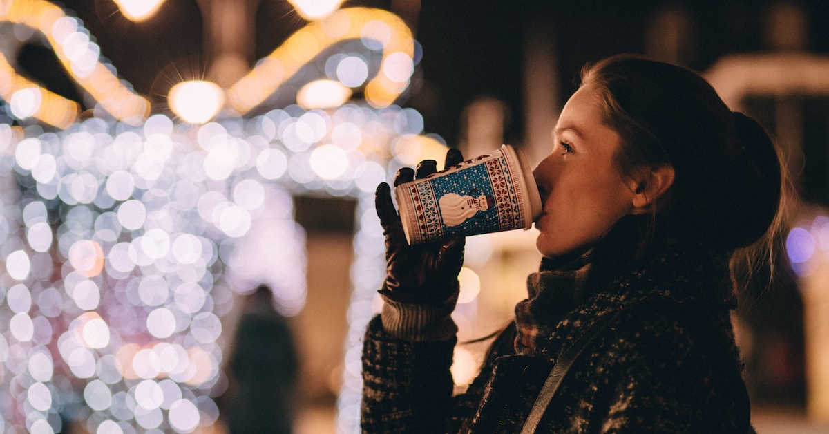 Drinking hot beverage in the cold