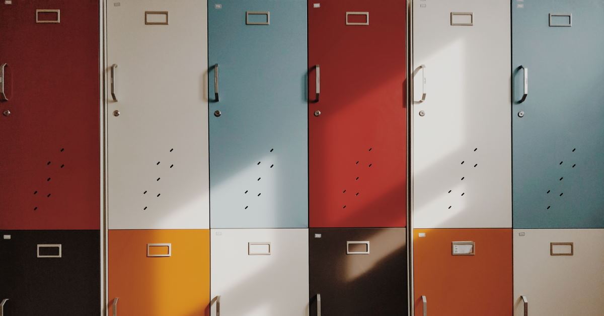 assorted-color school lockers