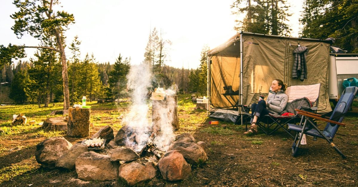 a campsite and fire