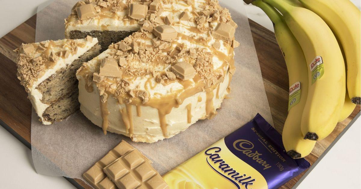 banana caramilk cake, bananas and caramilk chocolate block