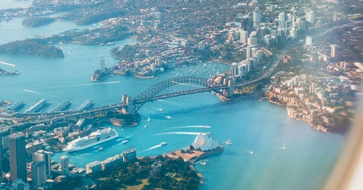 sydney, australia from an airplane window